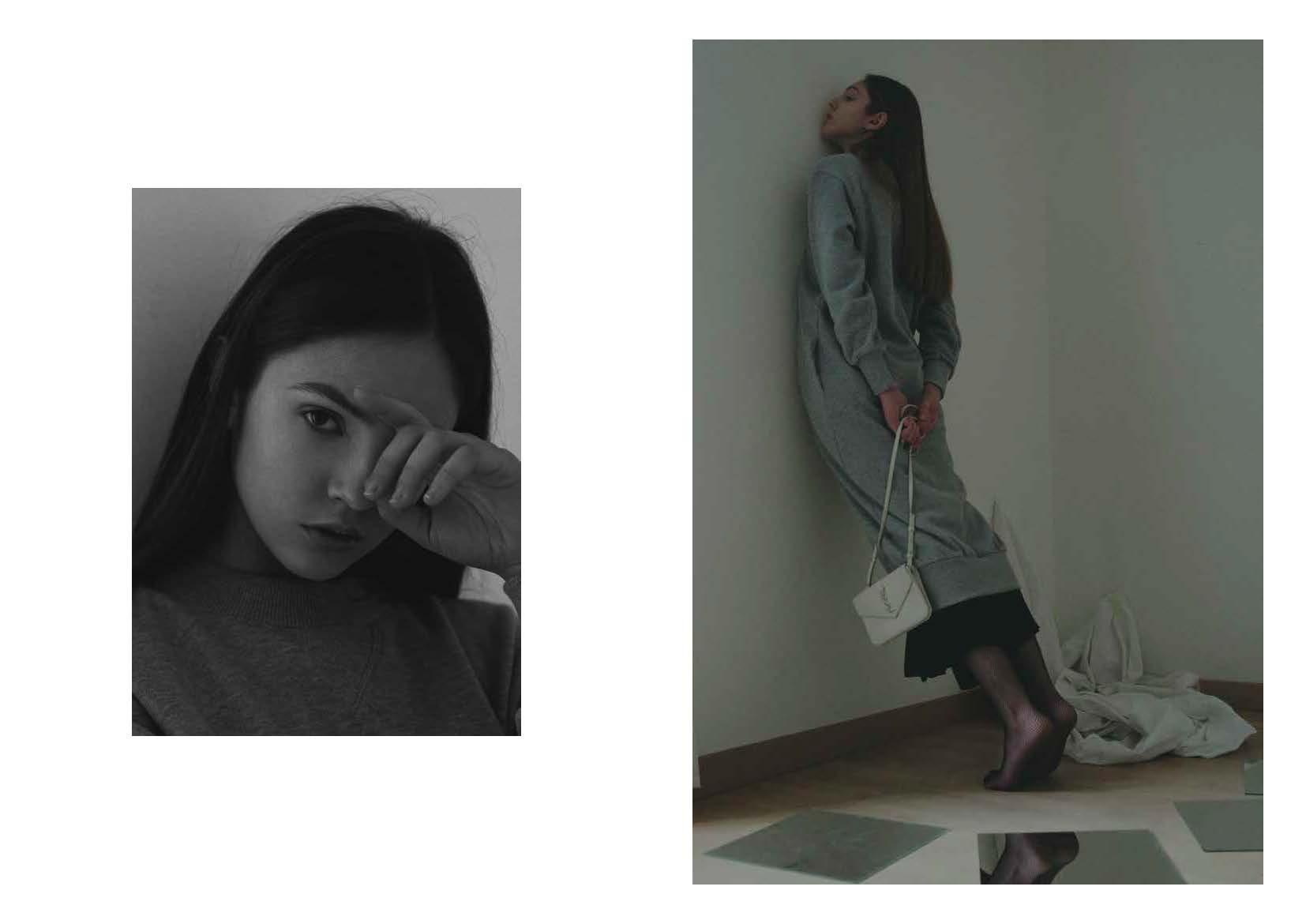 grey sweat-dress LUCIO VANOTTI, panel black dress COS, collant STYLIST ARCHIVE, trio mini-bag SAINT LAURENT