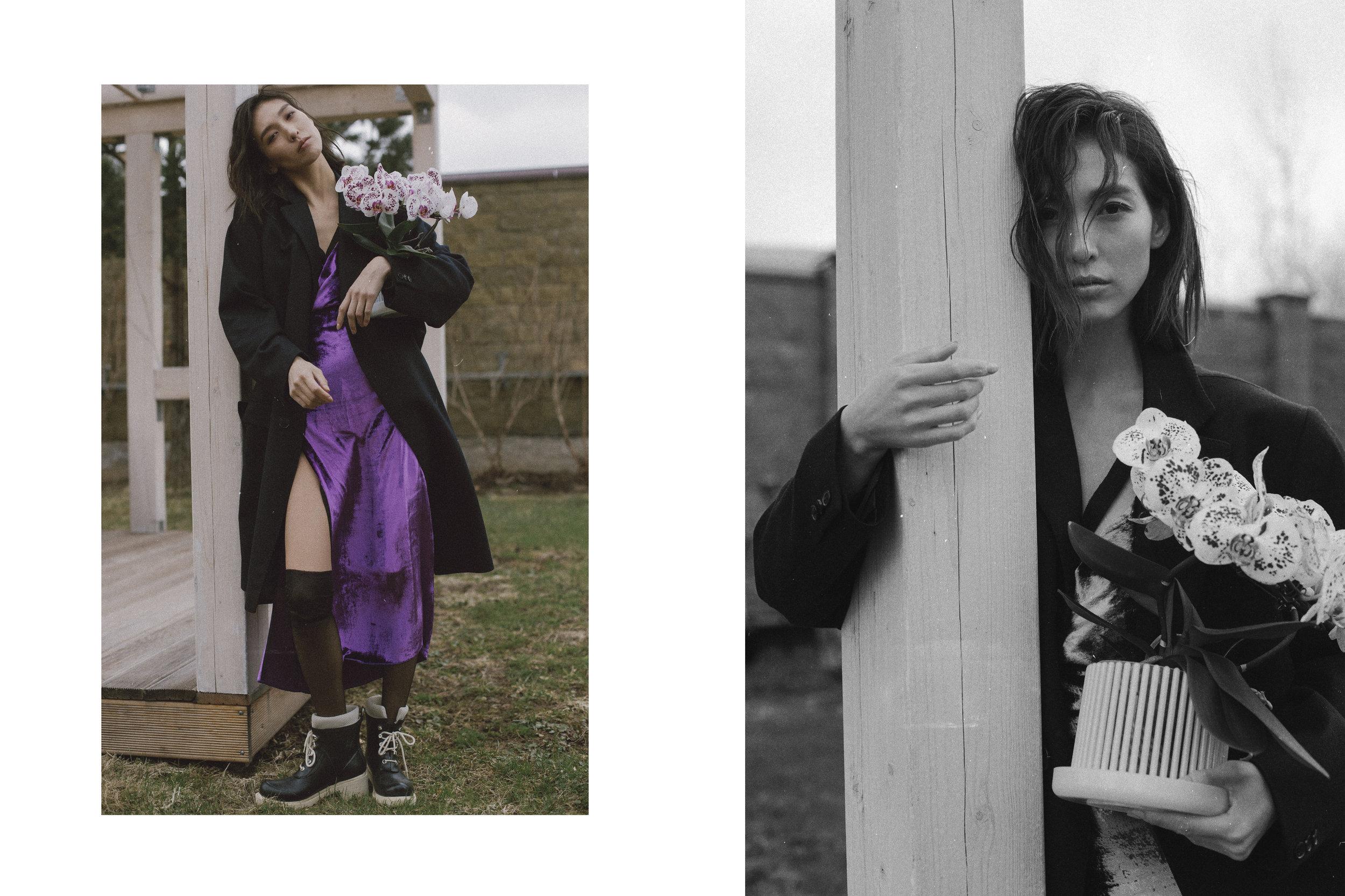 The coat Ermenegildo Zegna, Dress Ivan, Stockings Wolford, Shoes Ilse Jacobsen
