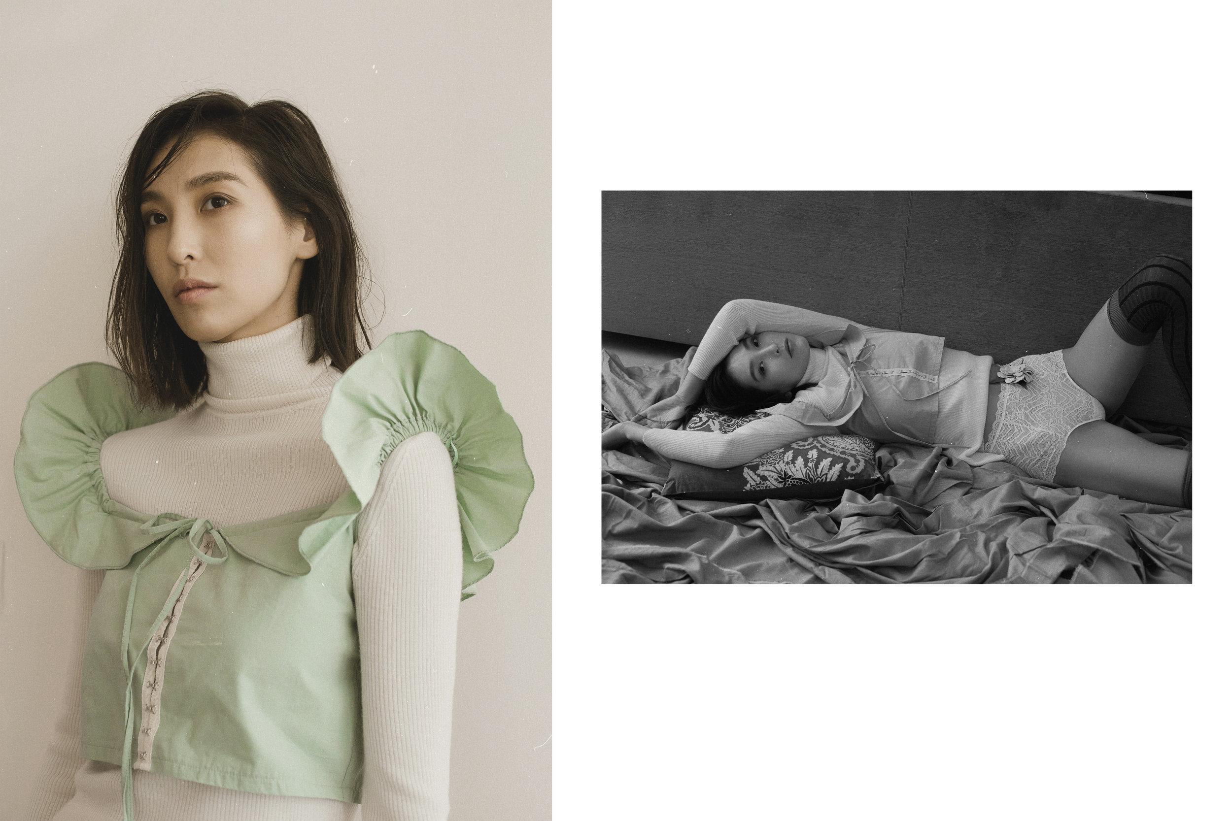 Turtleneck Wolford, The top Zara, Brooch-flower property stylist, Prada stockings, Cowards Intimissimi