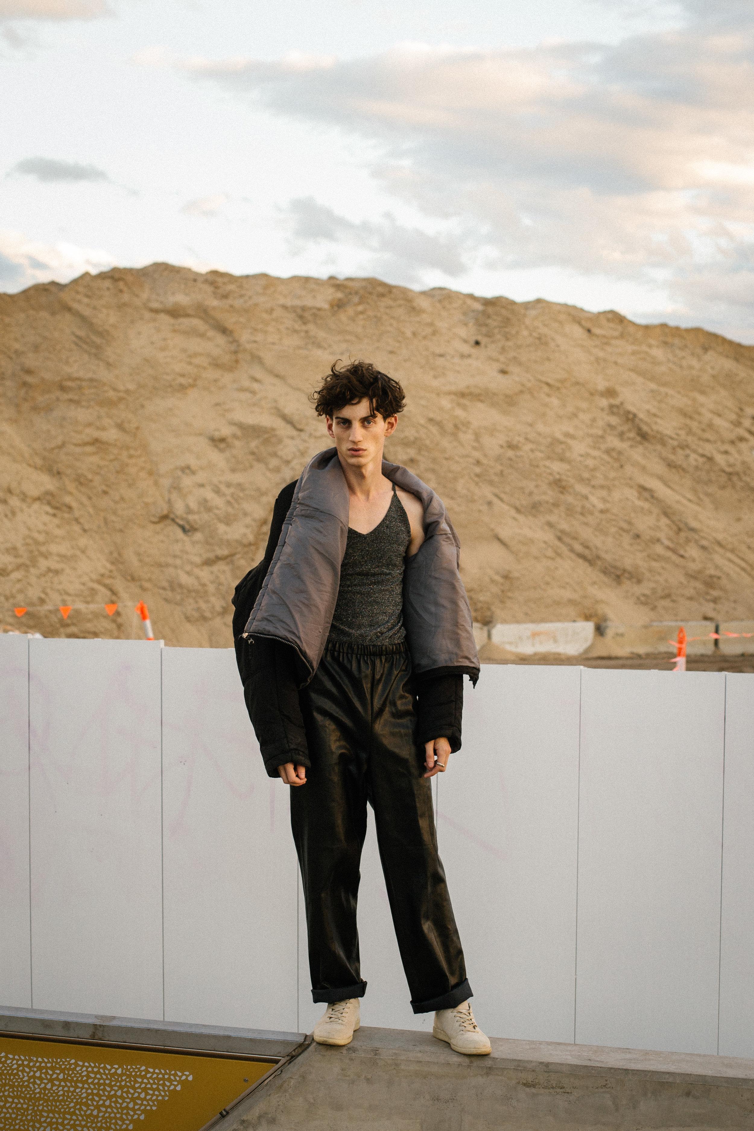 jacket Issey Miyake, singlet Stylists own, pants topshop, shoes Maison Martin Margiela
