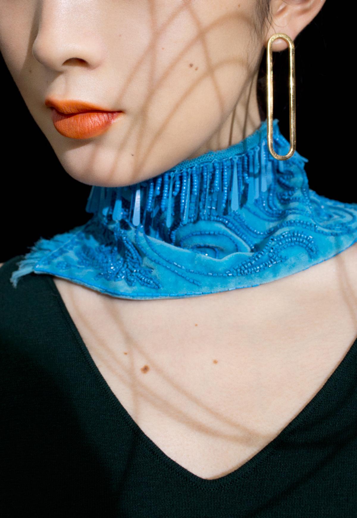 top STUDIO NICHOLSON, earrings TOMORROWLAND,neck piece STYLIST'S OWN