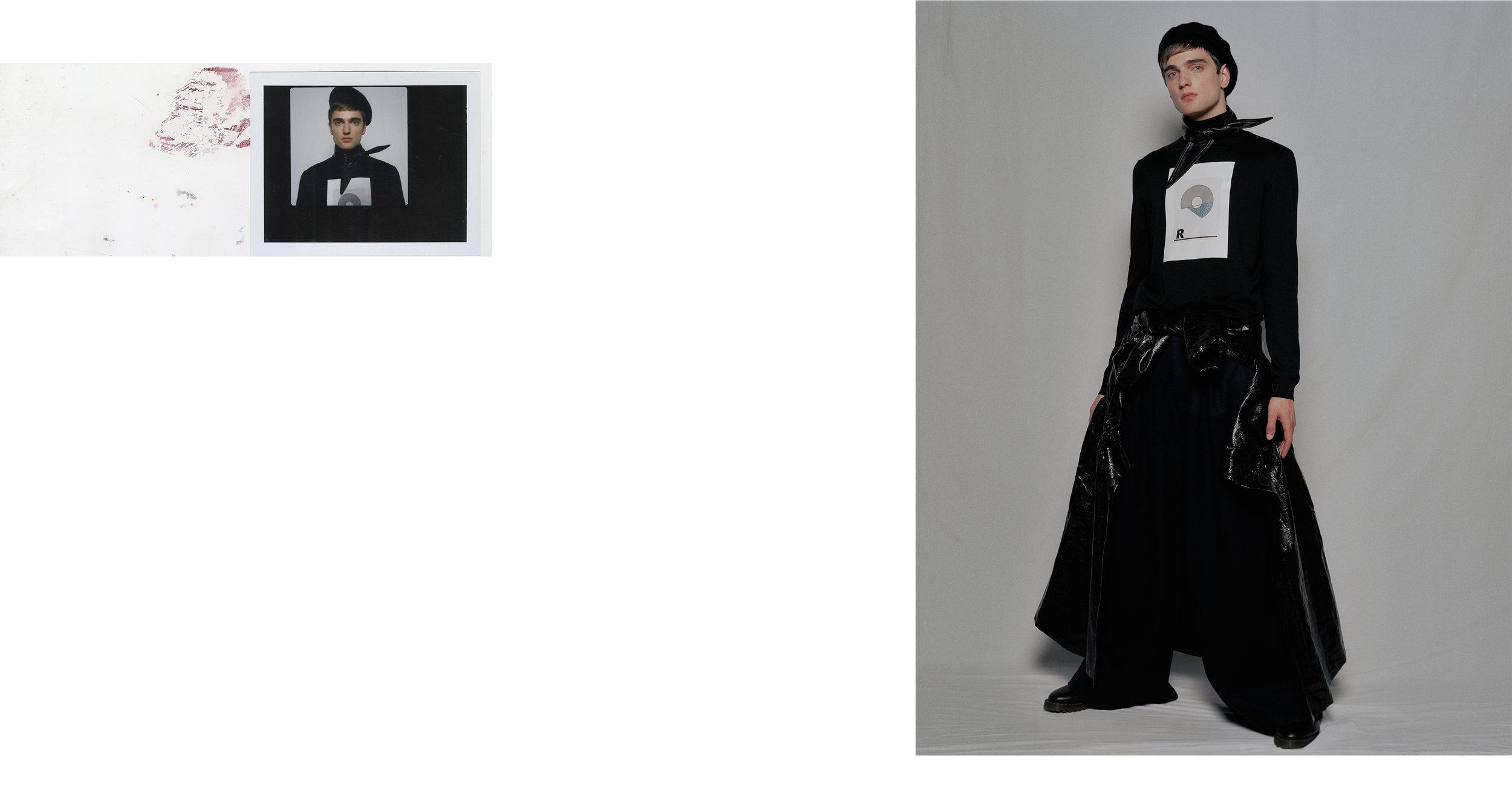 sweater + pant + jacket RAUN LAROSE,necktie ORSEUND IRIS, beret STYLIST'S OWN, shoes DOC MARTENS