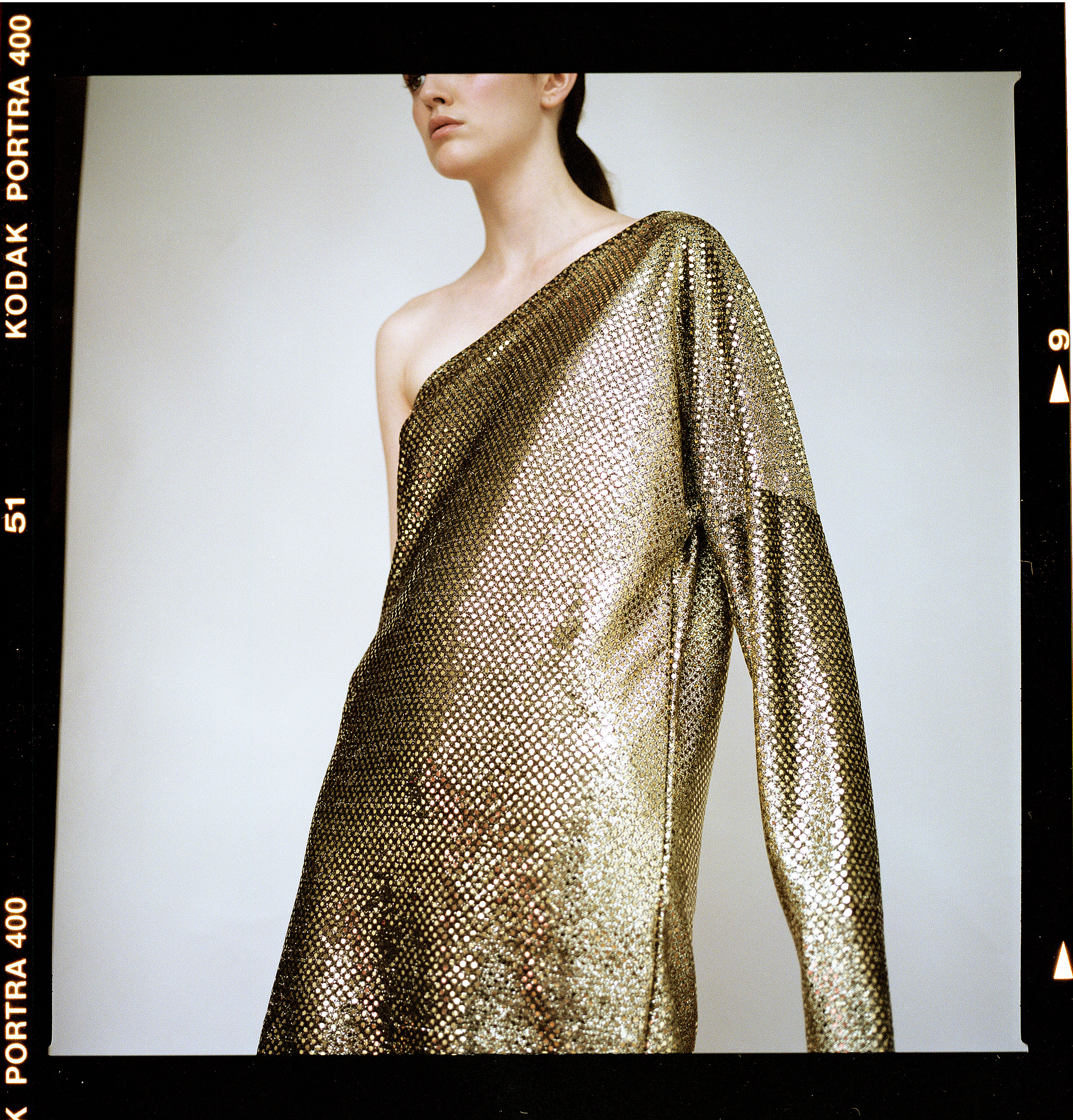 dress LUOMO STRANO, heels aluminium covered PRADA