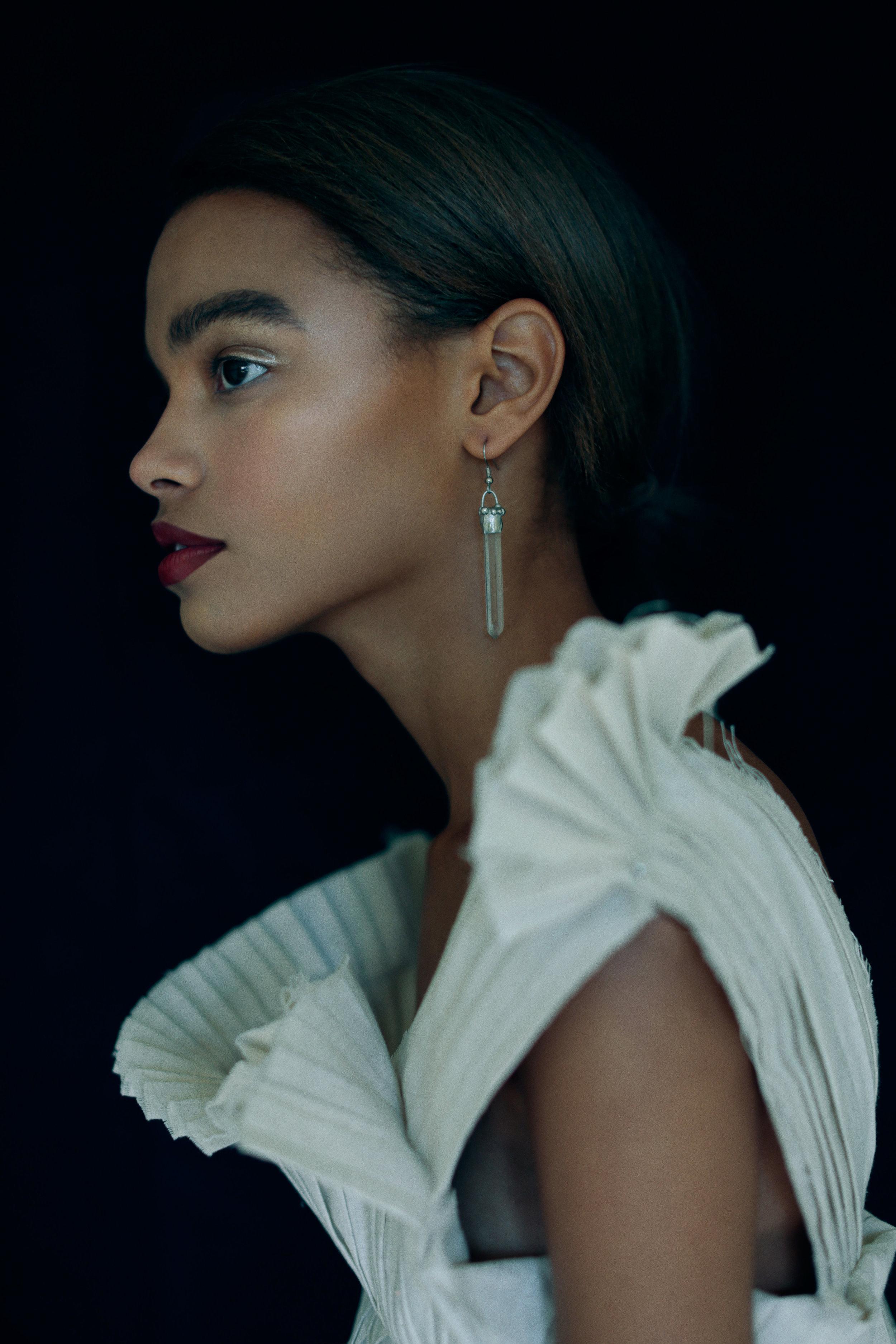 top OLYA KOSTERINA, earrings CRYSTAL HABITATAS .