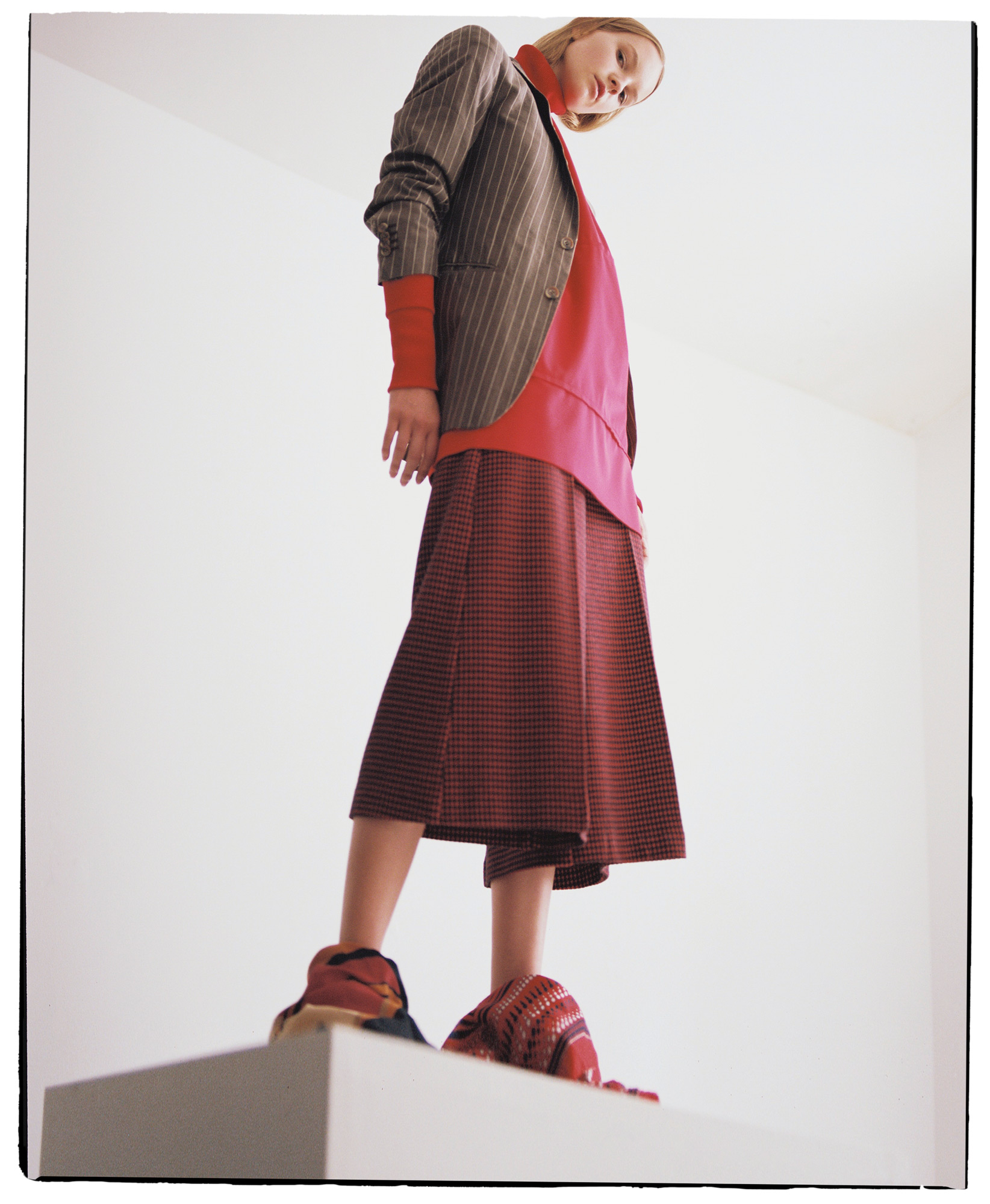 sweatshirt Katerina Hynkova, blazer Giorgio Armani, pants Pinko, scarfs Hermes & vintage