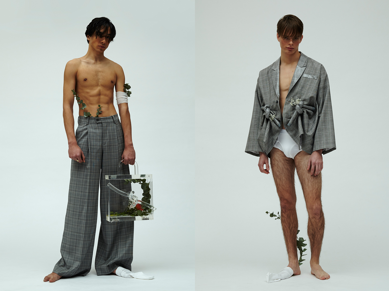 trousers + bag + jacket ZHENHAO GUO, socks H&M, boxers UNIQLO