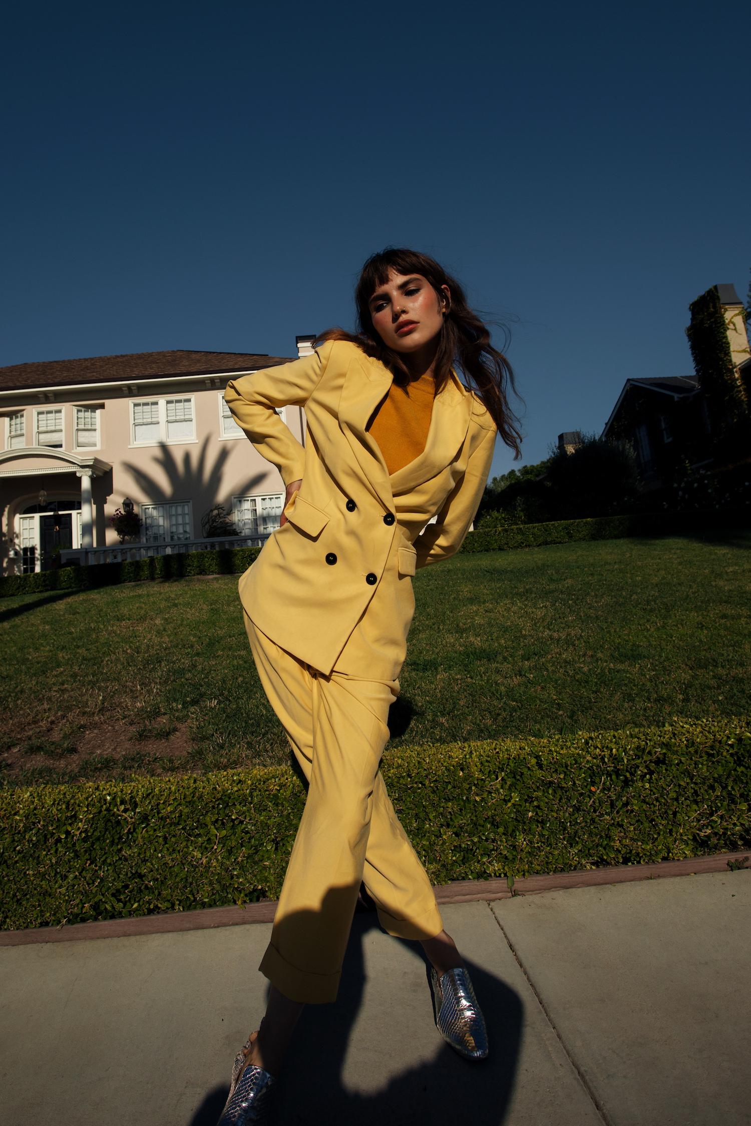 suit Calvin Klein top Prada shoes Eva Credo