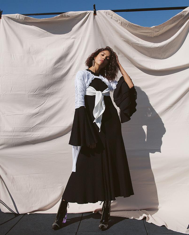 Top by Kahle Studio, Dress (worn underneath) by Ellery, Earrings by Agmes, Shoes by Ellery
