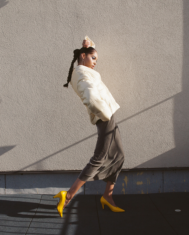 Jacket by Nanuska, Dress by Kes, Earrings by Closer by WWake, Shoes by Topshop