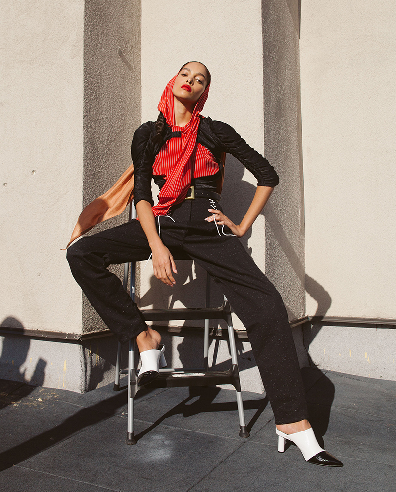 Top by Philosophy, Top (black) by Kahle Studio, Pants + shoes Tibi