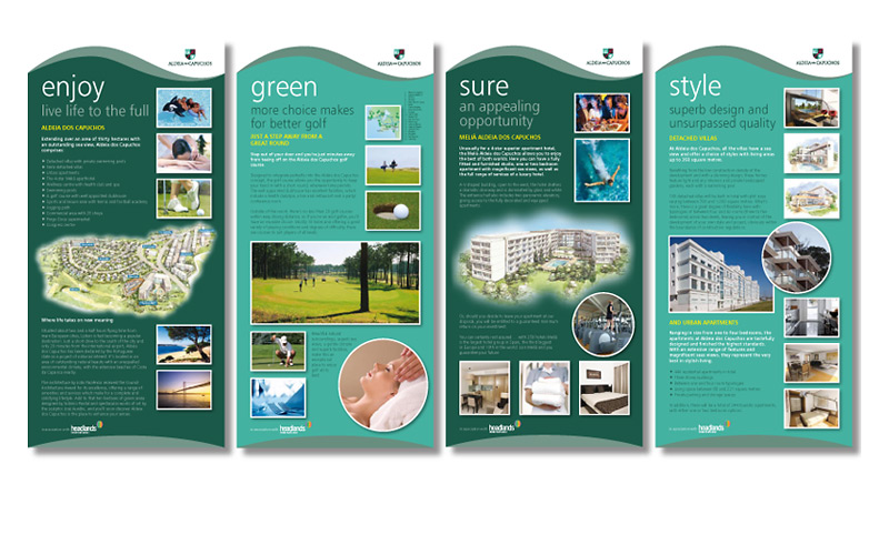 Exhibition panels promoting a luxury golf development in Portugal.