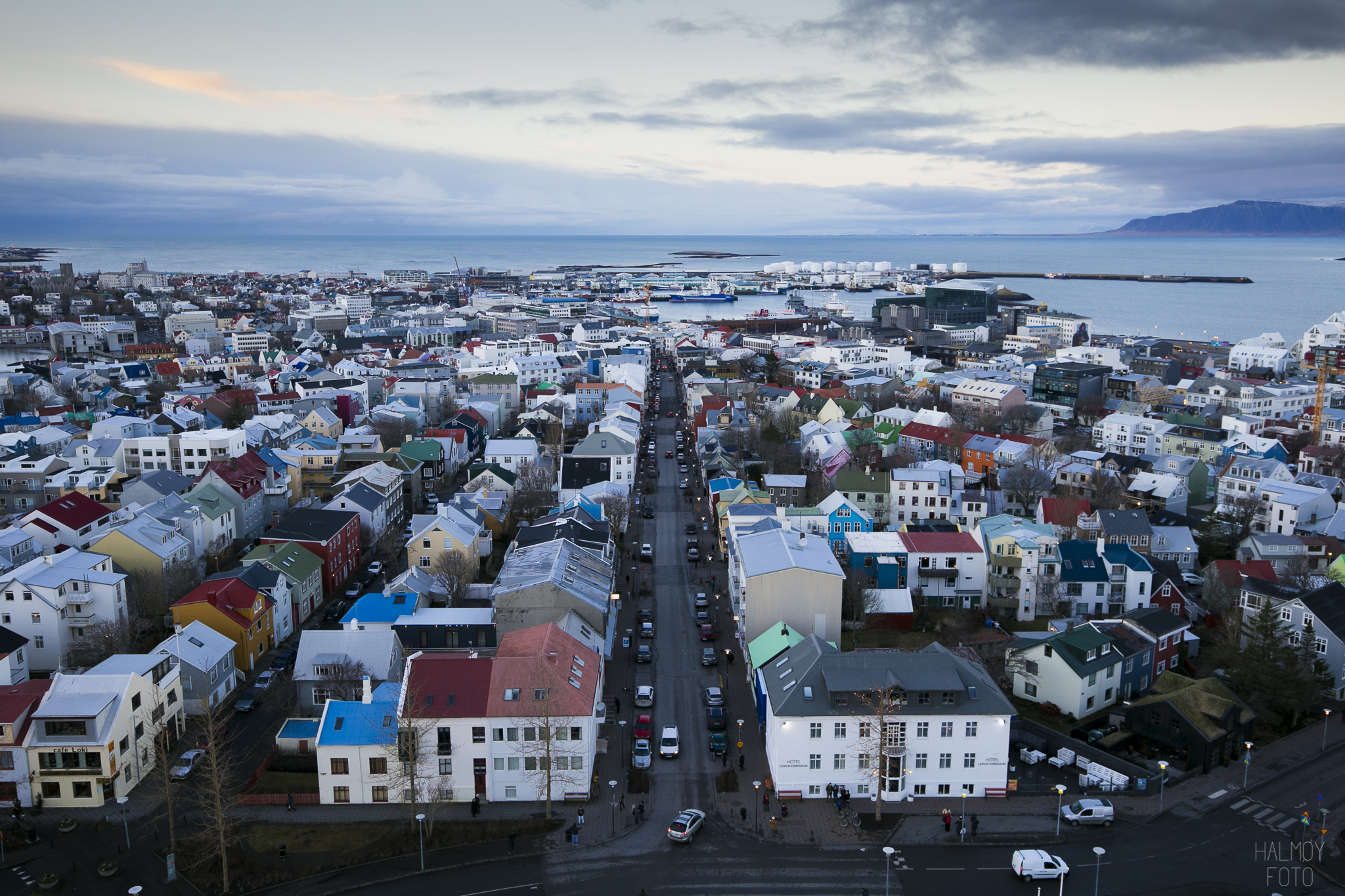 Fantastisk utsikt over Reykjavik.