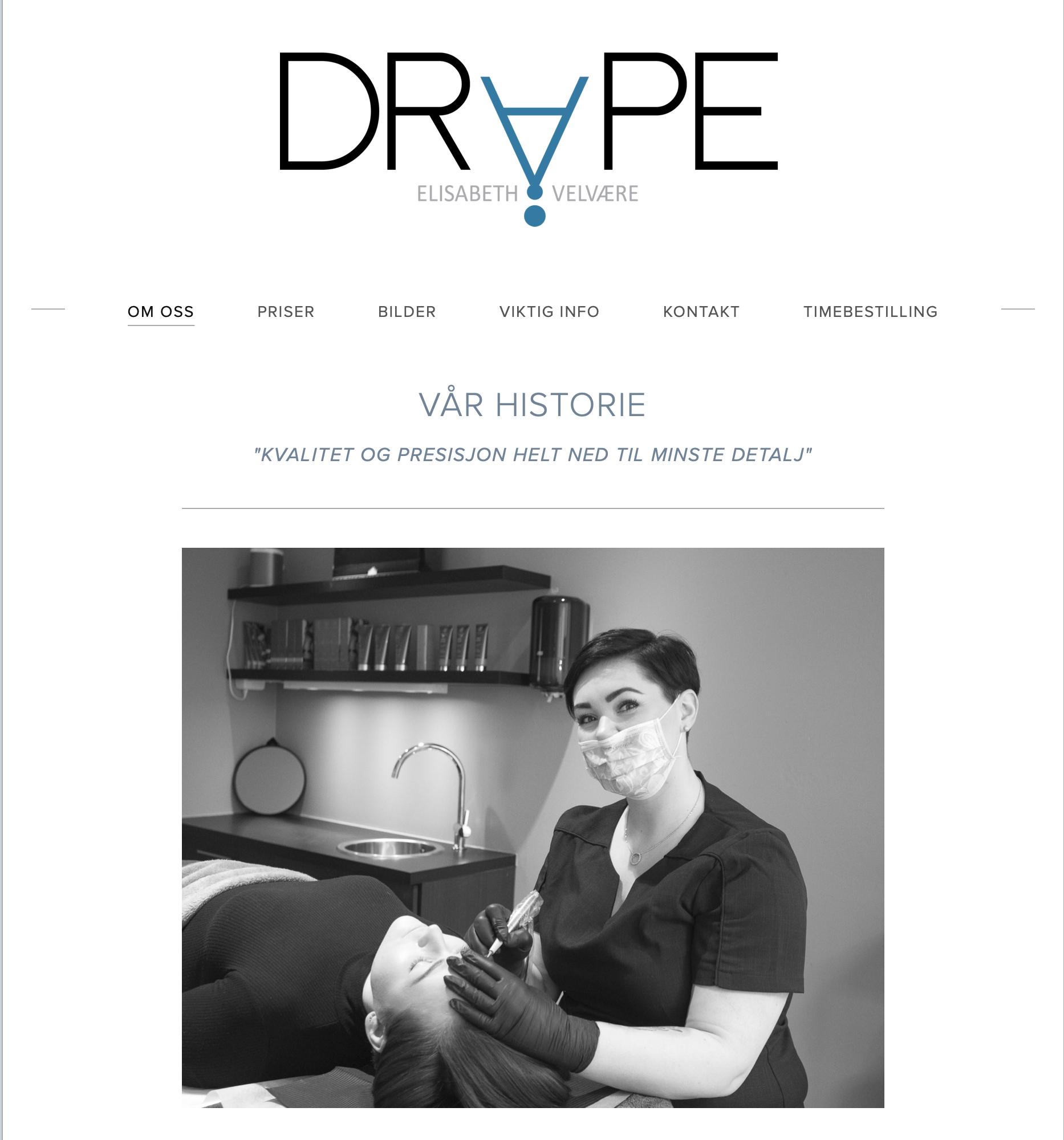 Webside og logo til Dråpe Velvære -