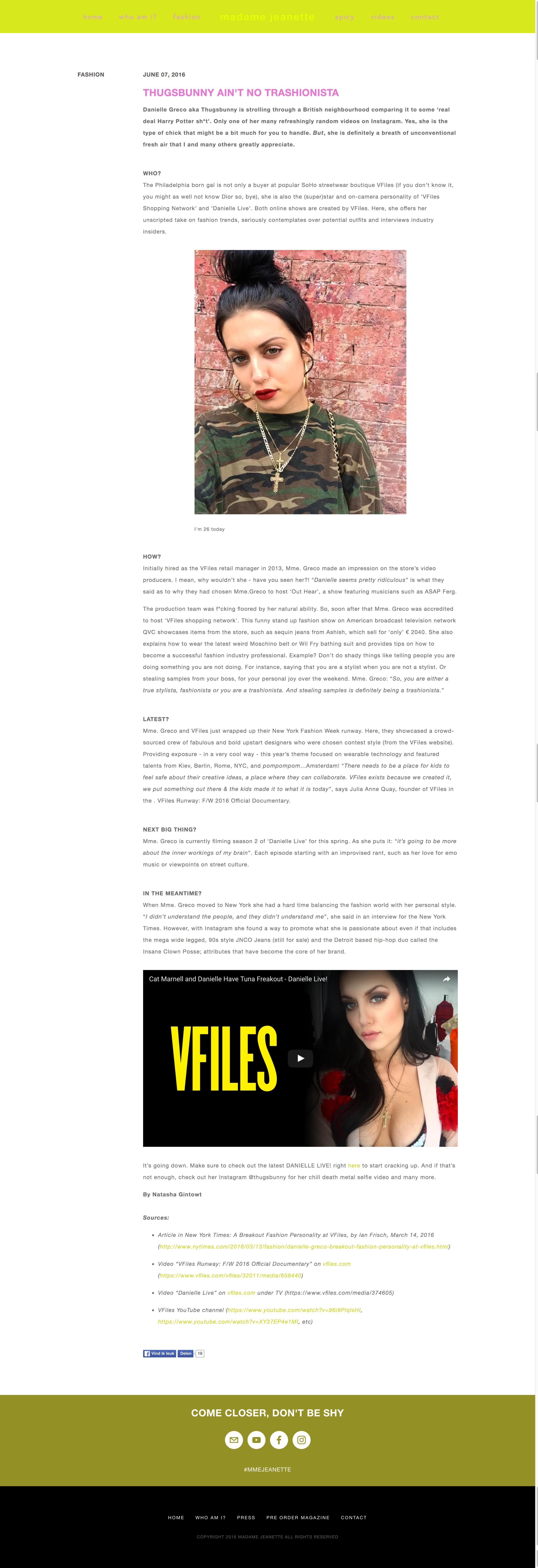 Profile I wrote on Danielle Greco for madamejeanette.com