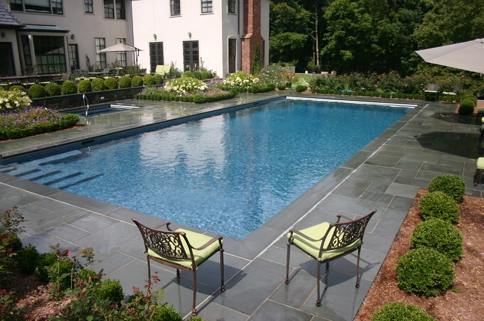 Ref ID 2 - Rectangle Swimming Pool with Sun Shelf, Square Spa and Blue Stone Patio in  Greenwich, CT