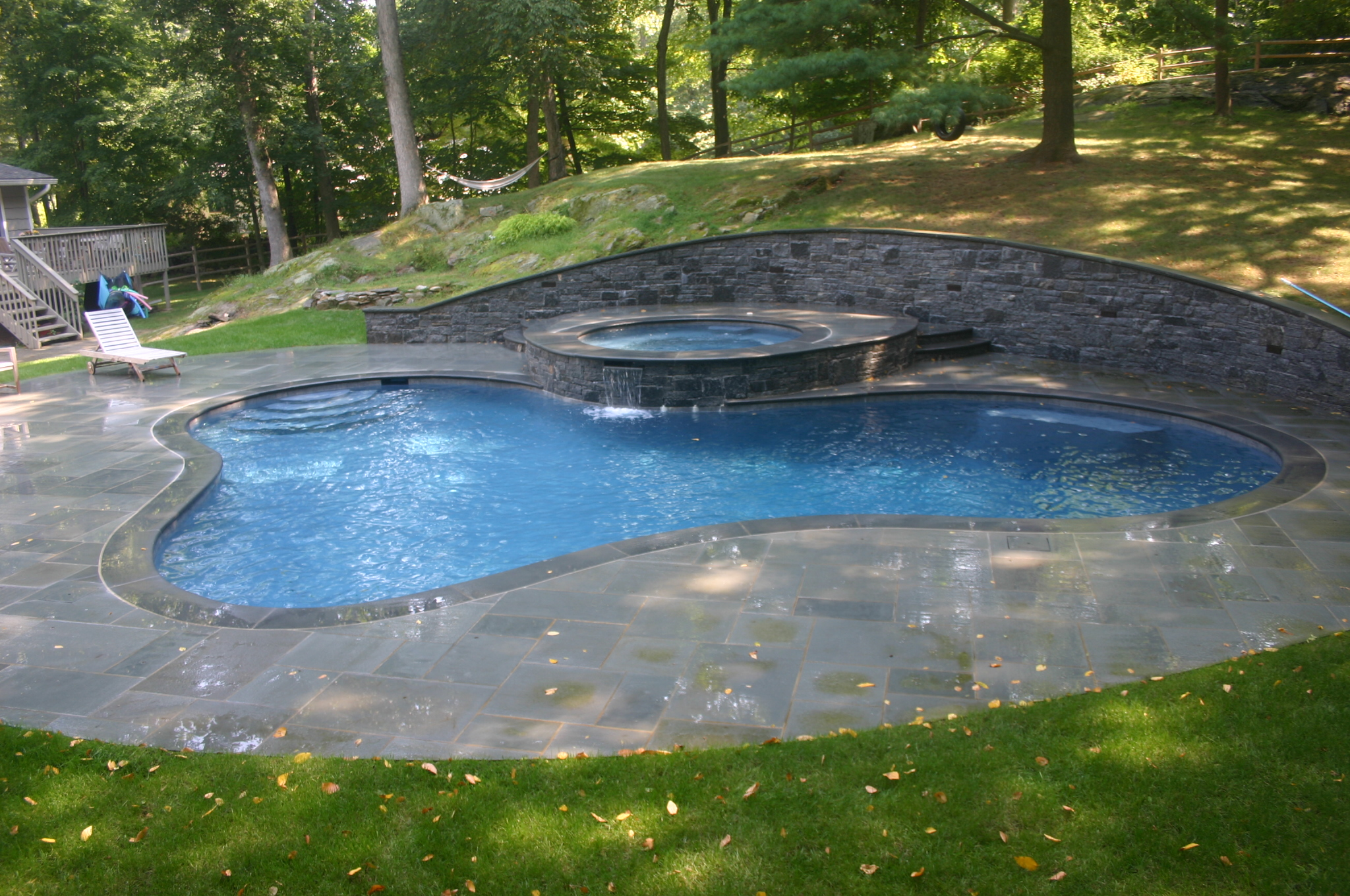 Ref ID  - Swimming Pool with raised spa, decking, and retaining wall in Stamford, CT