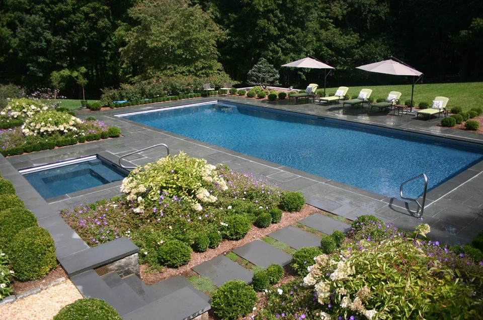 Ref ID 3 - Rectangle Swimming Pool with Sun Shelf, Square Spa and Blue Stone Patio in Greenwich, CT