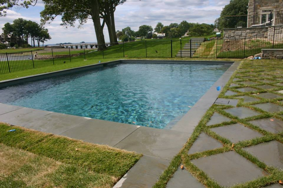 Ref ID  - Custom decking design on simple pool with auto cover in Greenwich, CT