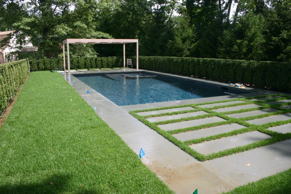 Ref ID  - Pool-spa combo with ozone system, auto cover, wide coping, and custom patio design in Greenwich, CT