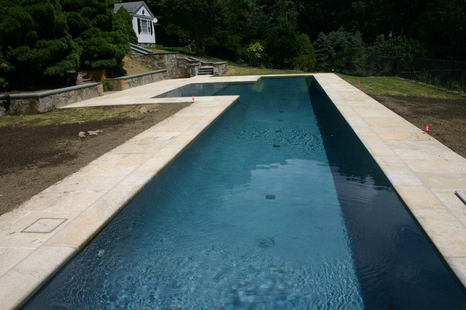 Ref ID  - 70 foot lap pool with sun shelf in New Canaan, CT