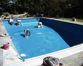 Replaster swimming pool for fresh new look.