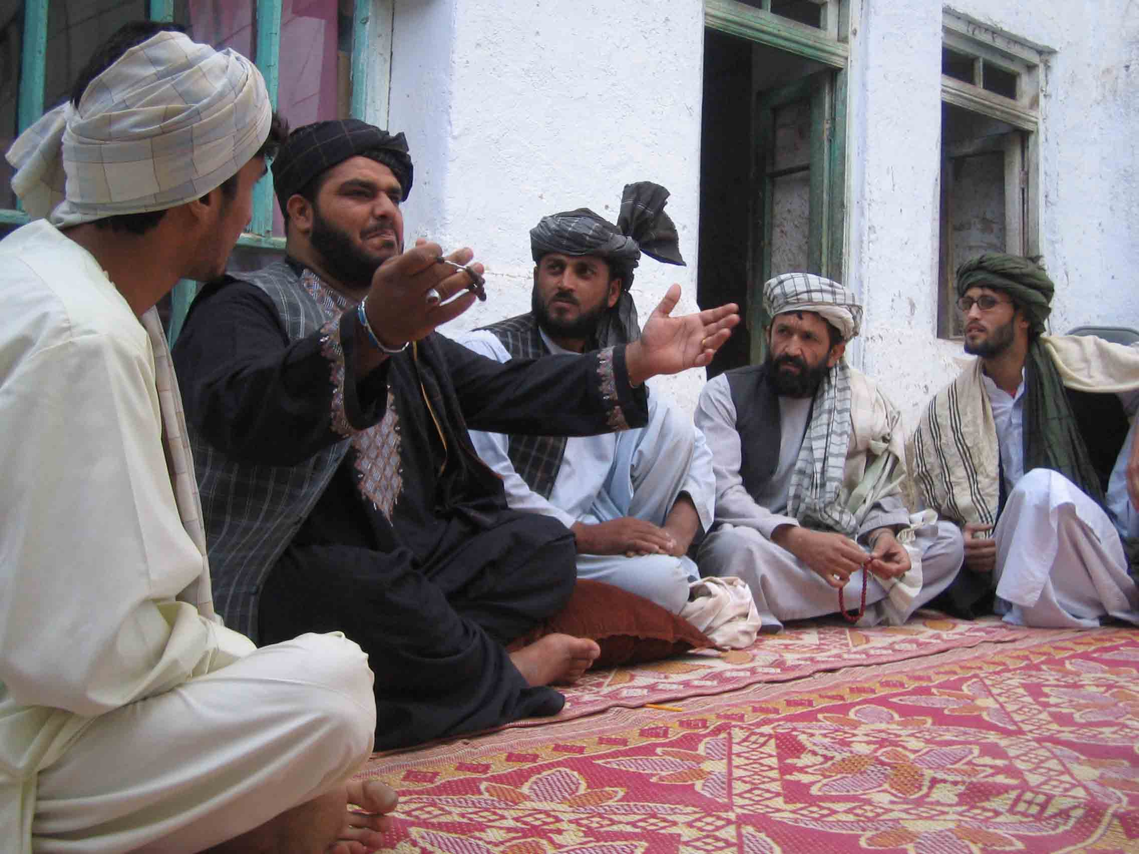 The Kandahar troupe performs for a local school.