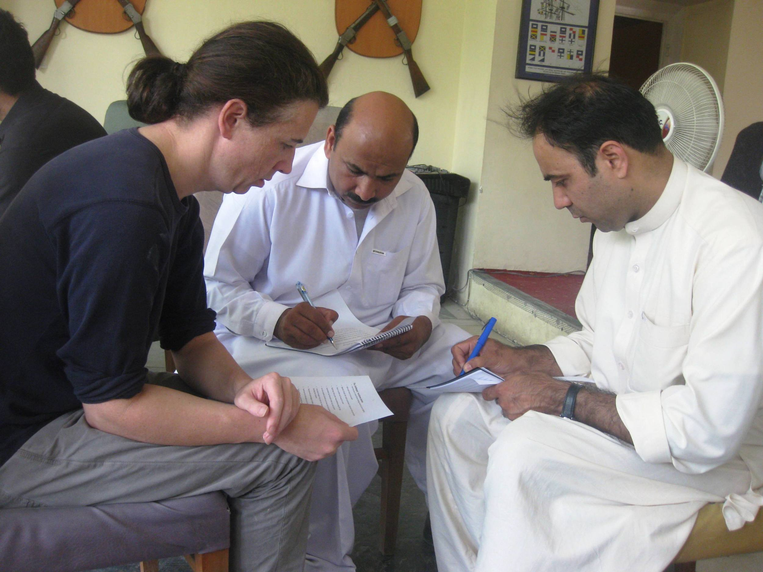 (L-R) Michael, Bashirat, Arman. Working on the issue of youth oppression.