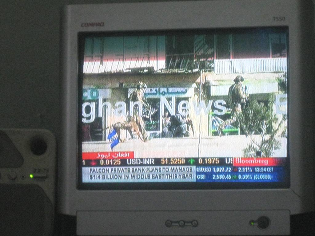 Live footage on TV of the fighting near the Parliament building.