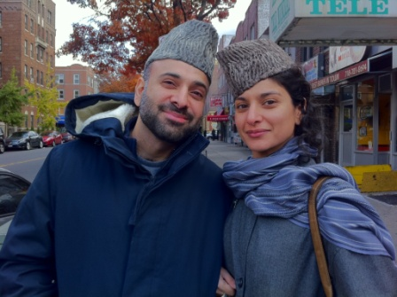 My brother and I in qaraqol hats I brought back from Kabul. They are named for the sheep whose wool is used in the making.