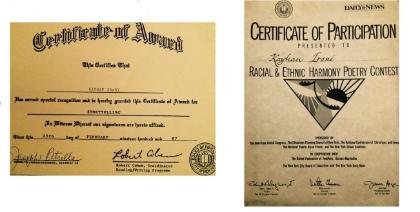 Certificates from elementary school showing my trailblazing artivism!