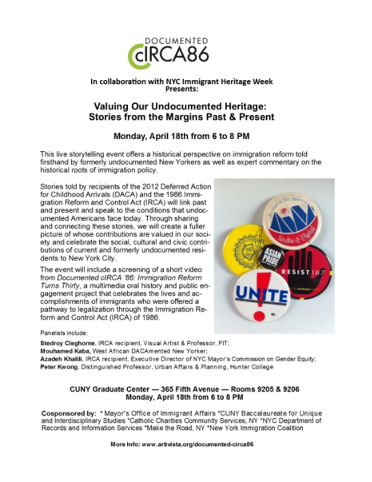 Monday April 18, 6-8pm CUNY Grad Center 365 Fifth Ave. Rm 9205 & 9206