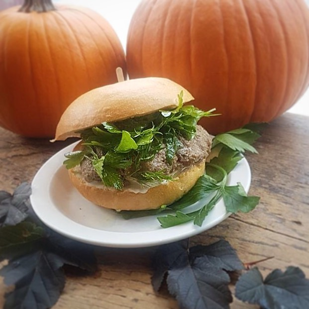I herd you will Fall in love with this week's sandwich. That's no cowincidence, it udderly delicious. No bull. It's pasture time to come in here and get it. . . Braised beef with a herb salad, onion aioli on a potato bun. . . #trinitybellwoods #sandwichoftheweek #punqueen #locallymade #firstdayoffall