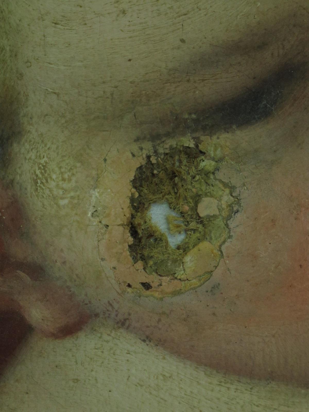La muffa ha mangiato la guancia di Gesù Bambino