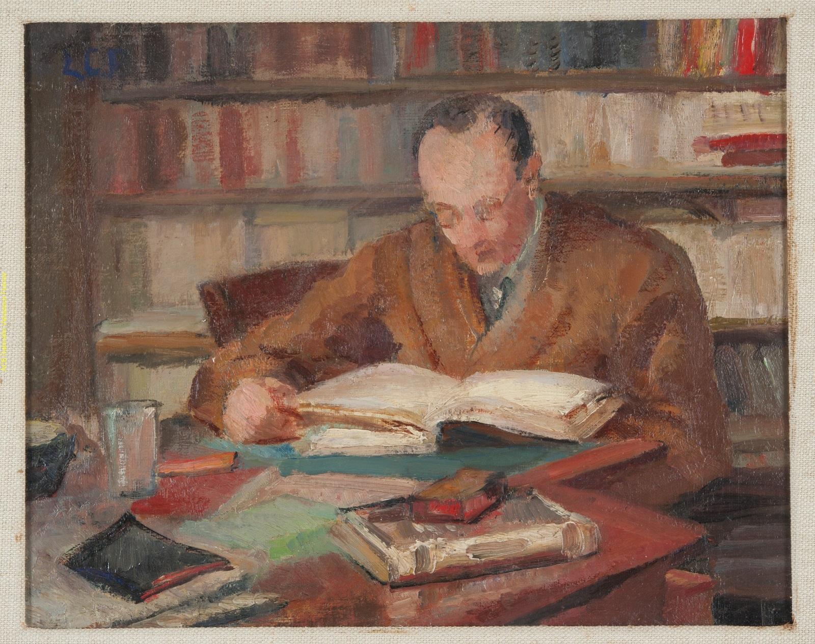Leonetta Pieraccini Cecchi's portrait of her husband, critic Emilio Cecchi, at the Gabinetto Vieusseux.