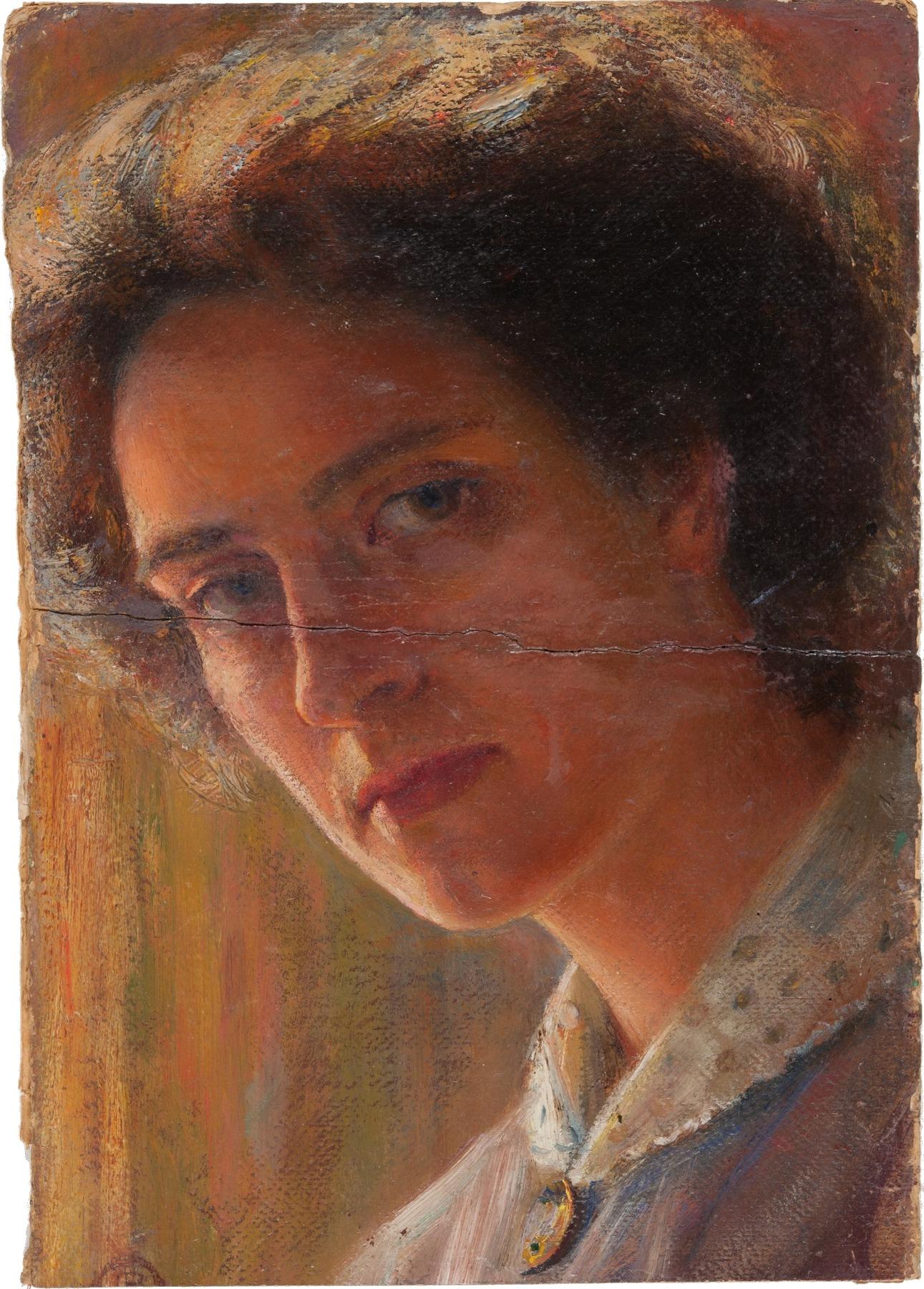 Autoritratto di Leonetta Pieraccini Cecchi al 'Gabinetto Vieusseux', in fase di restauro