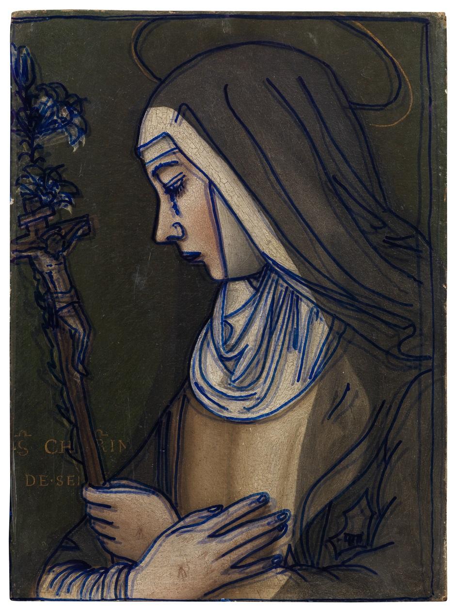 Lo studio della traccia dimostra che i dipinti della serie di Santa Caterina di Nelli erano tutti tratti dallo stesso cartone.