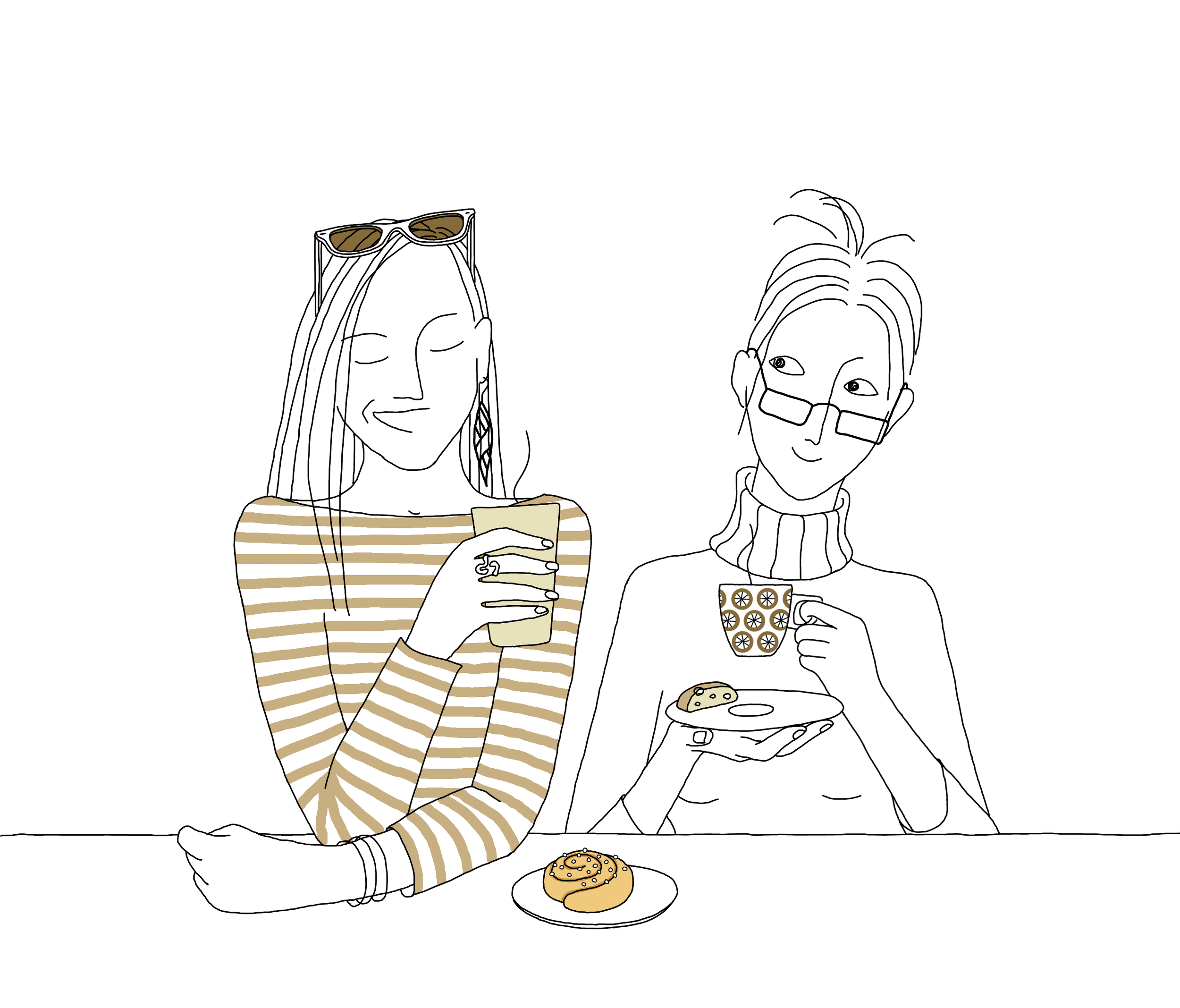 Anna Brones and Johanna Kindvall enjoying a fika, as illustrated by Johanna.