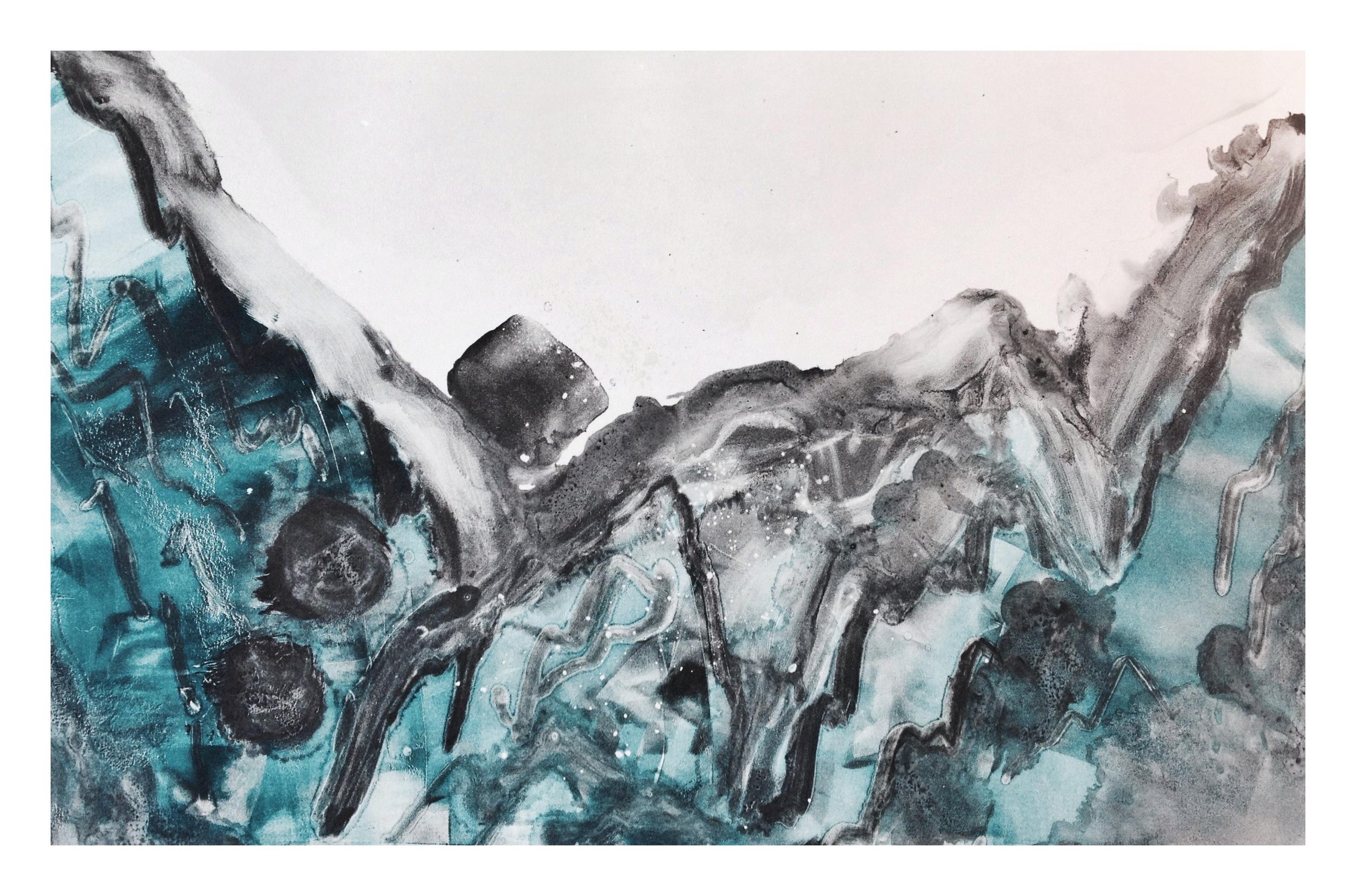 Fox Glacier ~ monotype print, 2016 📍SOLD
