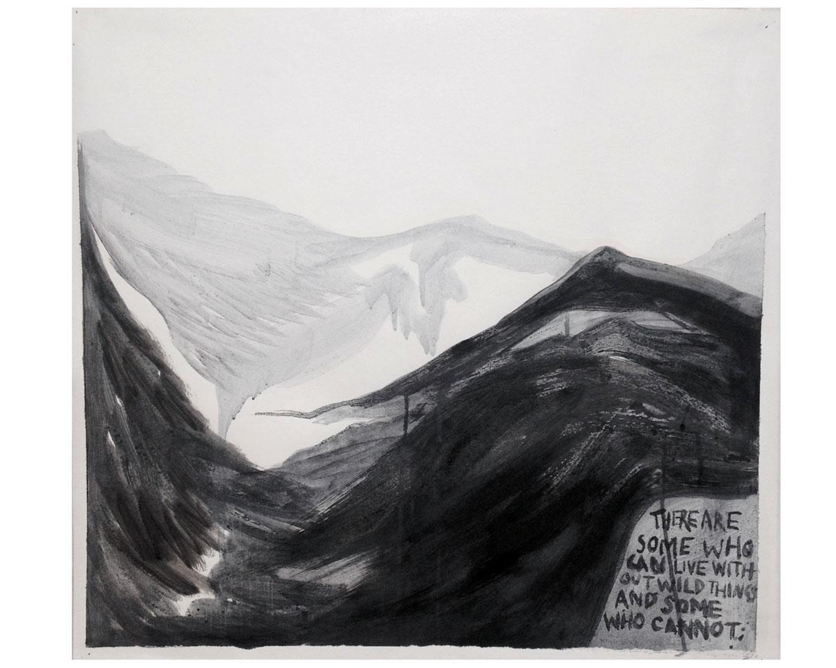 """Aldo Leopold"" ~ink on found paper- 2017 - 60 cm x 60 cm"