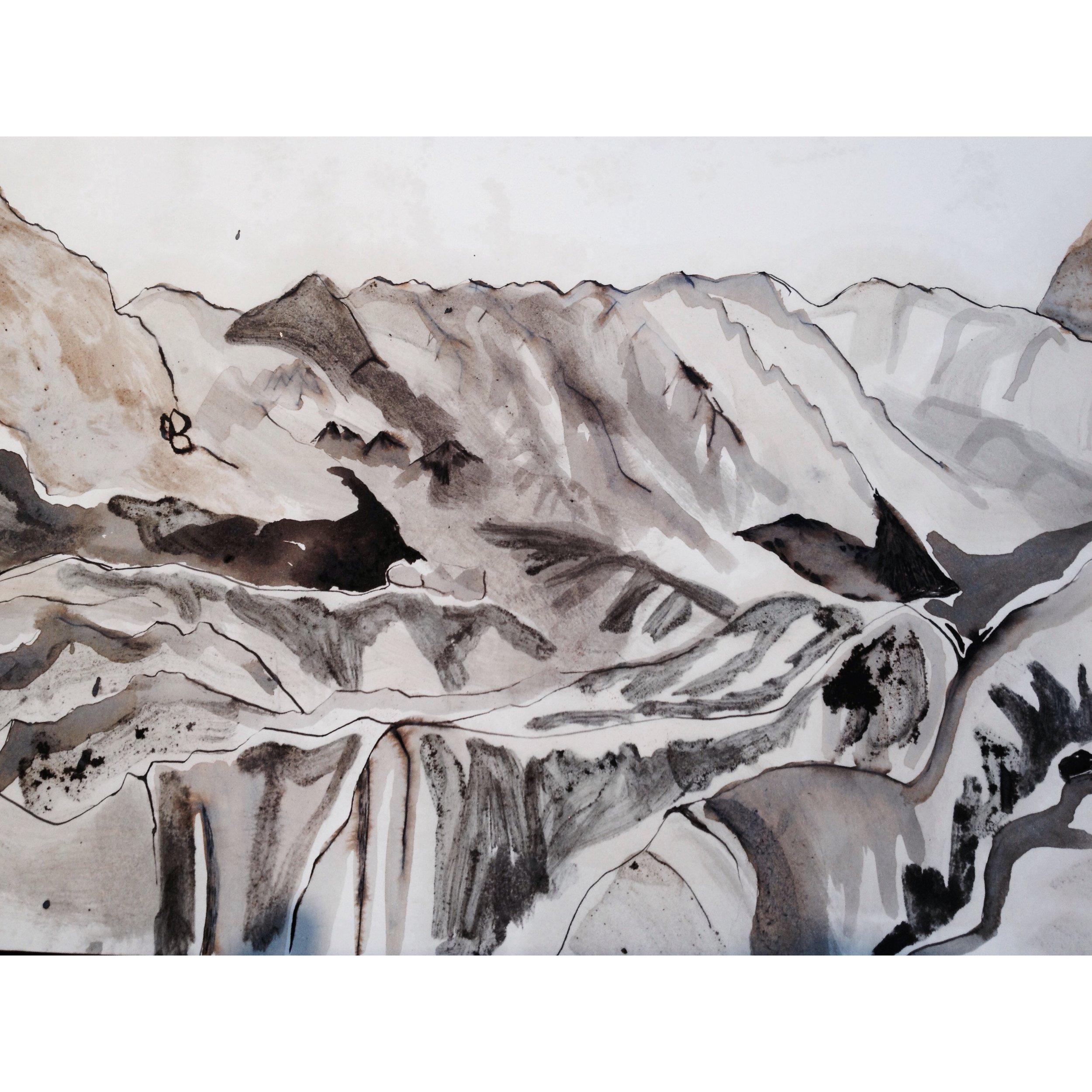 watercolour- Fox Glacier 2014