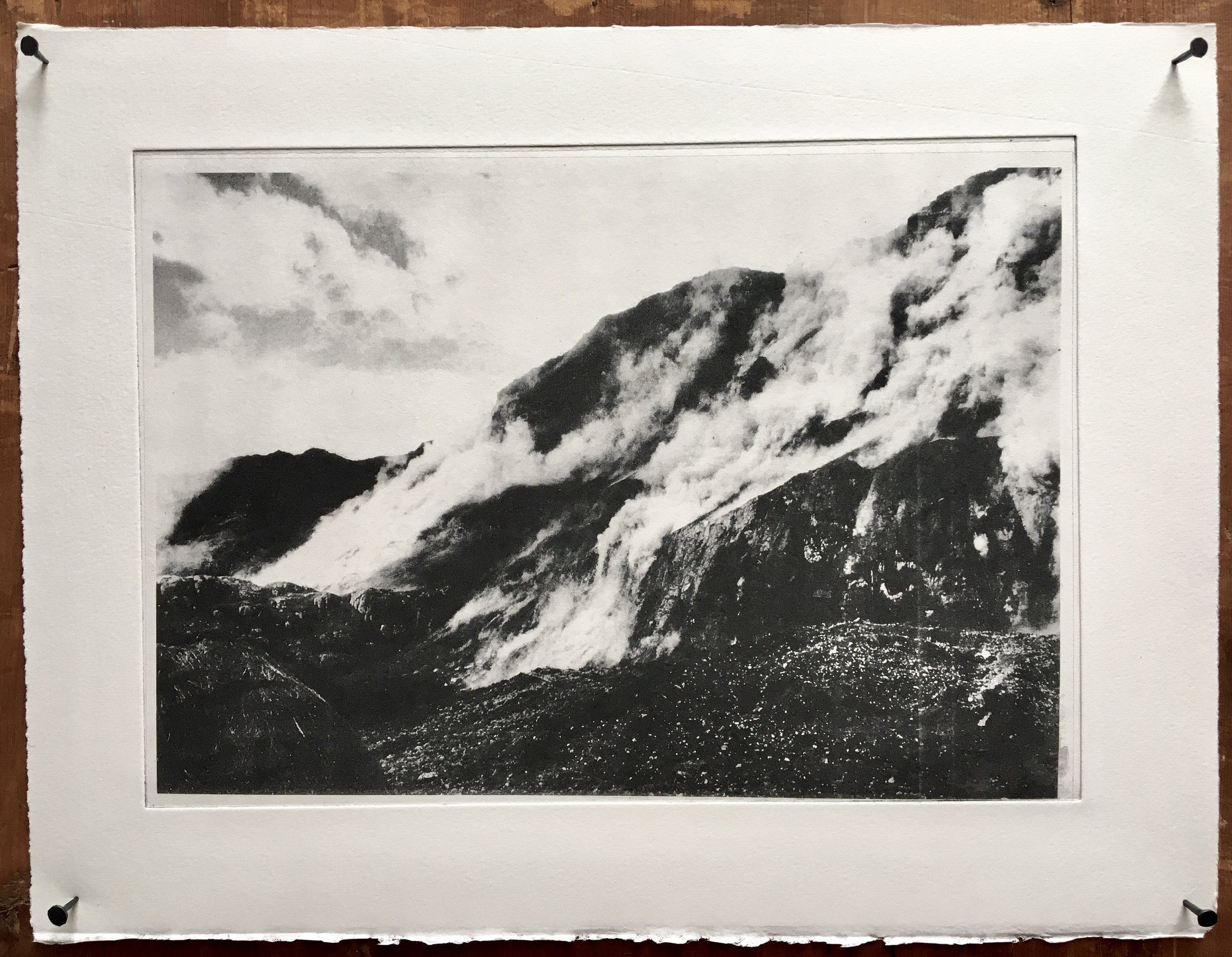 photographic etching, archival image by John Glasgow (NZ) of earthquake in Peru circa 1969. Printed 2015