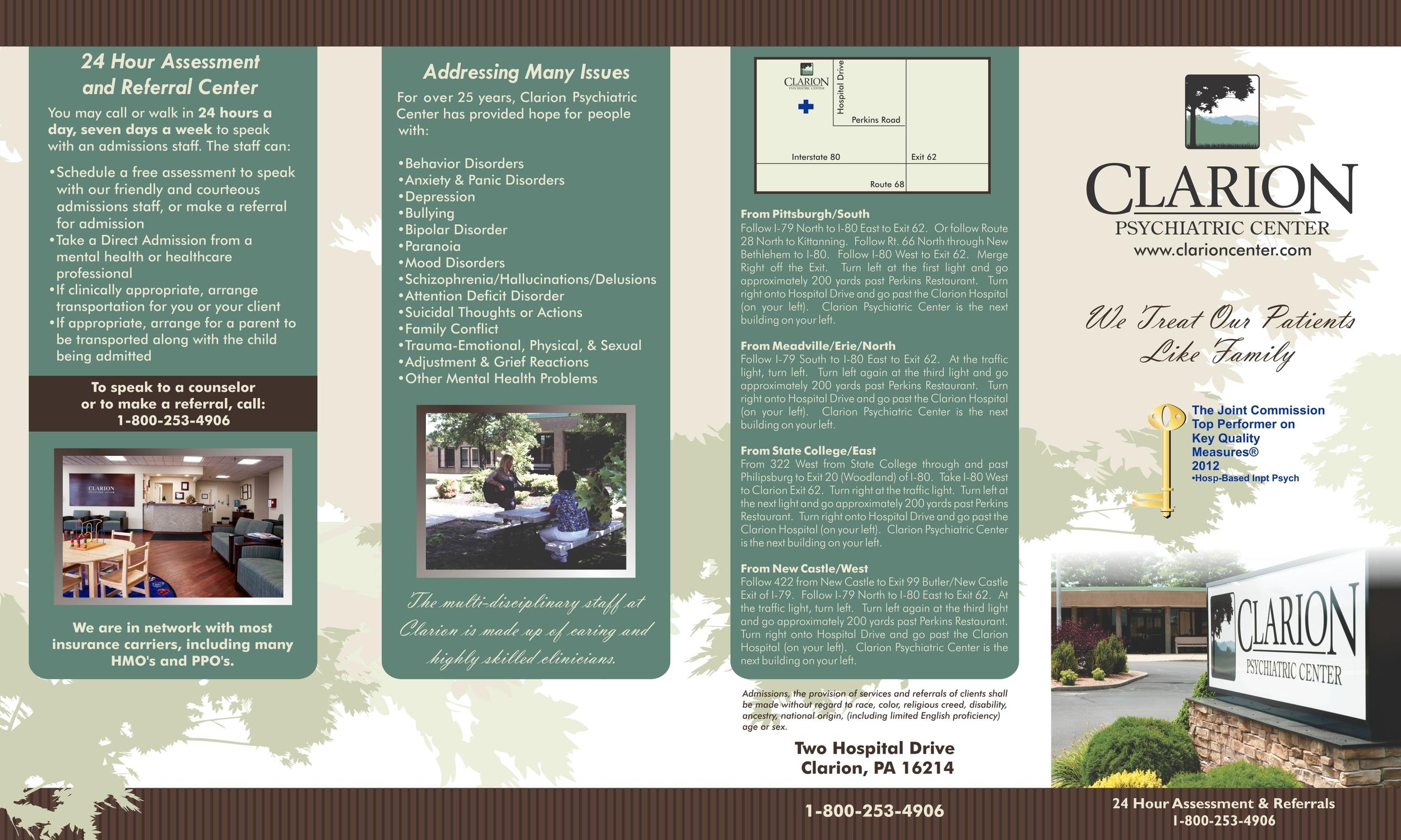 4 fold brochure, viewed in print-ready format, side 1