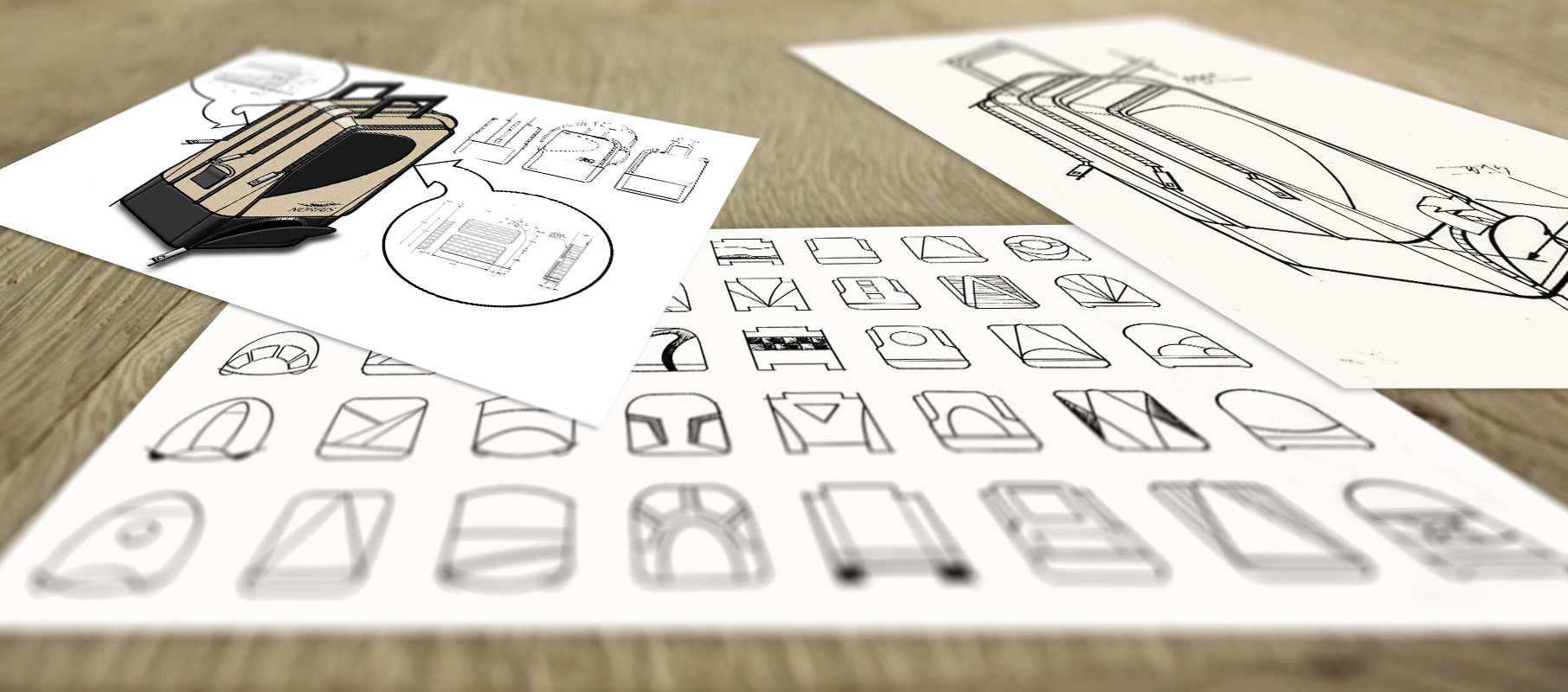 A variety of concept sketches for a civil aviation pilot bag.