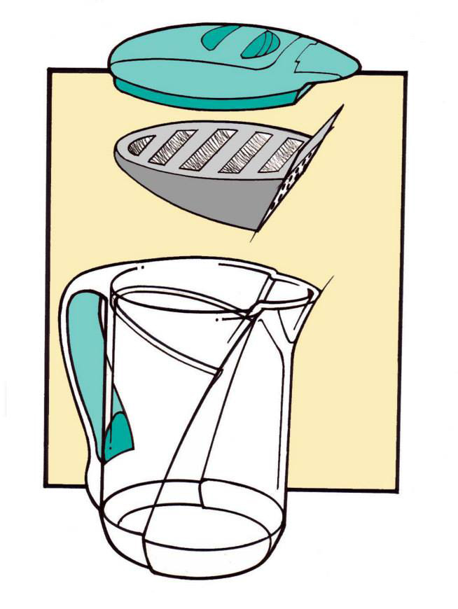 This is an early rendering for the second generation Brita water pitcher.