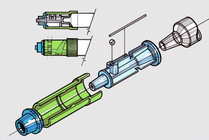 Medical syringe concept rendering for MedTech.