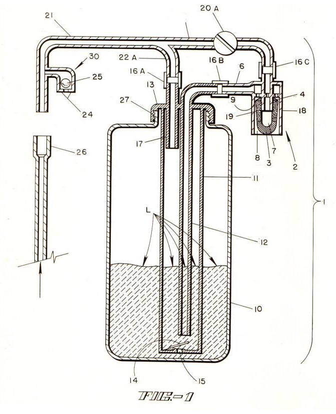 Auto transfusion device patent drawing.