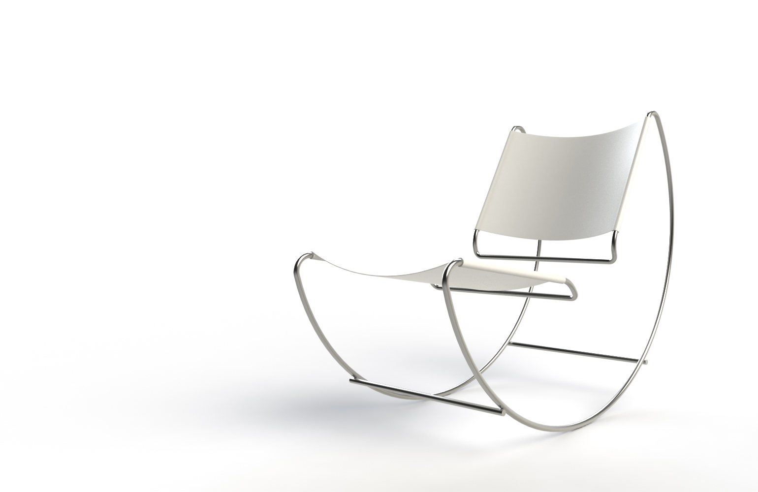 """Inspired by Marcel Breuer's Wassily Chair, but disappointed with the availability of equally iconic furnishings of the same style to complete a room, we created the Nebo rocking chair.   The frame is fabricated from 3/4"""" polished stainless steel rods, to match the look of the Wassily chair, but provide greater strength than the original tubing. The seat bottom and back are the same rugged leather hide used on the Wassily chair,available in a variety of colors and patterns."""