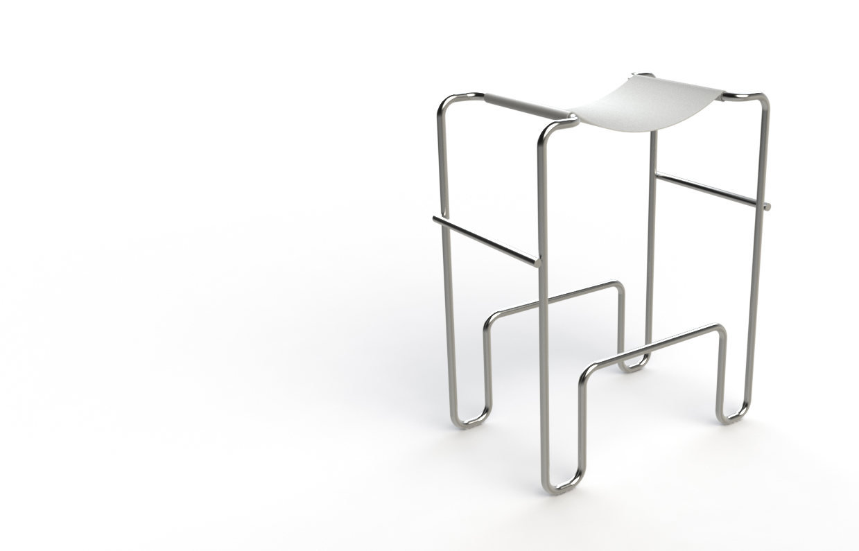 """Another in the series of Wassily Chair inspired seating concepts. This is the Znachok Stool, fabricated from welded 3/4"""" stainless steel tubing and leather hide."""