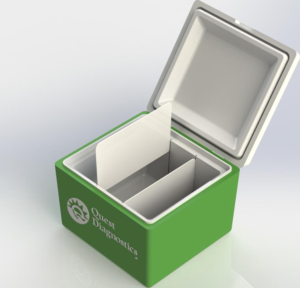 Medical cooler CAD model rendering for Quest Diagnostics