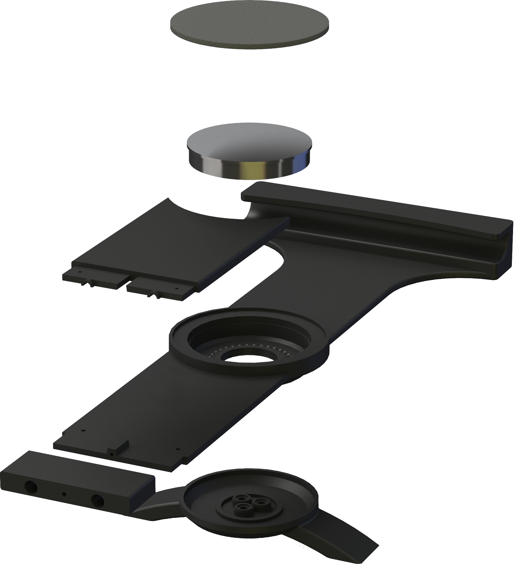 Civil aviation kneeboard CAD model exploded view.